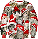 80s' Mens Womens Ugly Christmas Sweater Plus Size Novelty Cat Family with Red Hat Printed Pullover Cute Funny Animal Round Neck Sweatshirts for Sexy Ladies Winter Casual Party Holiday Sportwear XXL