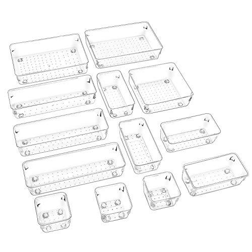 Puricon (13Stück) Plastik Schubladen Ordnungssystem Aufbewahrungsbox Stoffkasten Schubladeneinsatz Schubladen Tisch Büro Bade Make-up Organizer, Drawer Divider Cubes Container –Klar