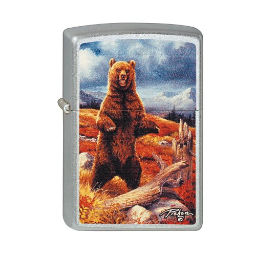 Animals & Ocean Zippo Lighter Grizzley Bear by Linda Picken