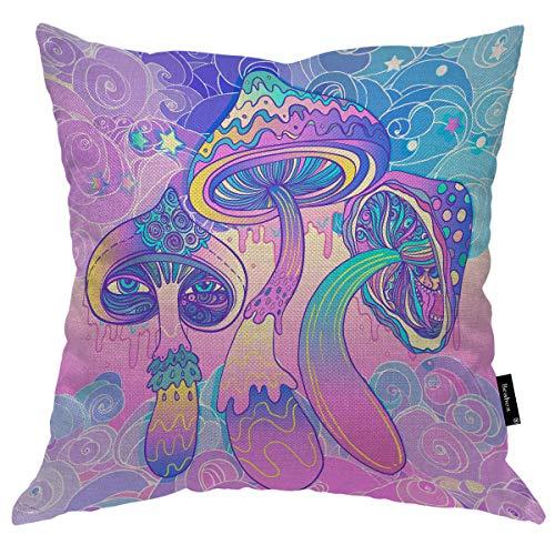 Seemuch Fundas de almohada mágicas de hongos coloridos con diseño de flores y flores, para casa, hotel, hombres, mujeres, 40,6 x 40,6 cm