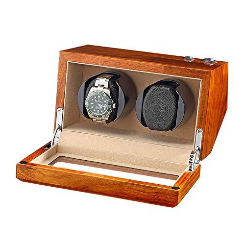 AYYEBO Madera Maciza Natural Caja Enrolladora Reloj Doble para 2 Relojes Automáticos Almohada Reloj Flexible 5 Modo Rotación (Color : Beige)