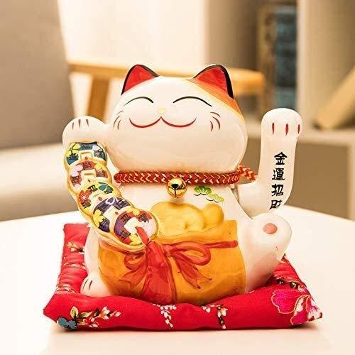 WQQLQX Statue Glückliche Katze Statue Tier Statuette Skulptur Handwerk Modell Wohnzimmer Wohnungszubehör Registrierkasse Dekoration Geschenk Dekoration Zubehör Skulpturen (Color : C)
