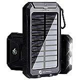 Solarprous - Cargador solar de 30.000 mAh, portátil, doble USB, cargador de batería externo, cargador de teléfono, banco de energía con linterna para teléfonos inteligentes, tableta, cámara (negro)