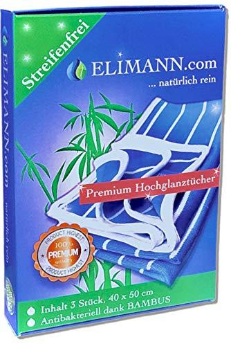 ELIMANN® Bambus-Tuch Hochglanz Premium, 3er Set Viskose 50 x 40 cm, fusselfrei & streifenfrei putzen, trocknen und polieren, für Küche/Haushalt/Industrie, Glas/Spiegel/Fenster/Besteck/Brillen/Autos/Möbel
