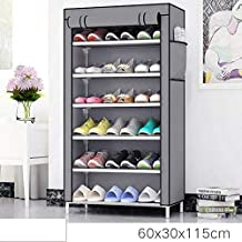 Sasimo Multipurpose Portable Folding Shoes Rack 6 Tiers Multi-Purpose Shoe Storage Organizer Cabinet Tower with Iron and Nonwoven Fabric with Zippered Dustproof Cover-Grey