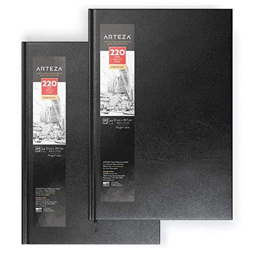 Arteza Blocs de dibujo de tapa dura | DIN A4 | Pack de 2 | 220 hojas x 2 | Papel de 110 gsm | Libros en blanco para escribir, para bocetos y diarios personales