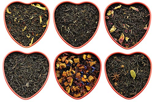 Sweetheart Loose Leaf Tea Sampler Assortment in Red Heart Tins w/ 6 Varieties of Tea Including Masala Chai, Vanilla Black Tea, Passion Peach Tea, Rose, Raspberry & More, Tea Gift Set - Approx 90+ Cups