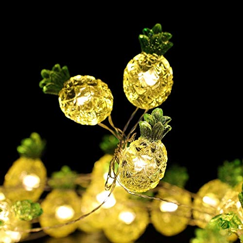 Guirnalda luminosa 3D tropical de piña con 40 ledes a pilas/cable de cobre con mando a distancia y temporizador para decoración del hogar, jardín, boda, Navidad (piña)