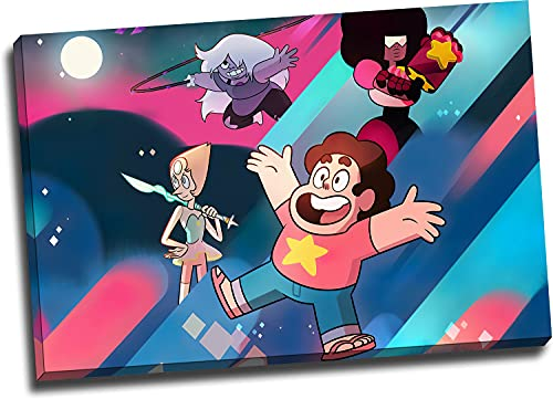 GY S_teven Universe Home Canvas Prints 18' x 12' Wooden Framed Comic S_teven & Gems Canve Art for Boy & Girls Room Decor, Stretched and Ready to Hang