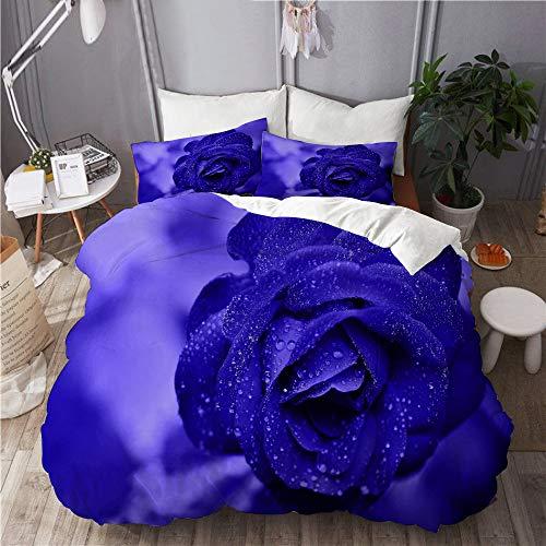 Aliciga bedding-Duvet Cover Set,Blue Rose in Rain at Night,Microfibre 230x220 with 2 Pillowcase 50x80,King
