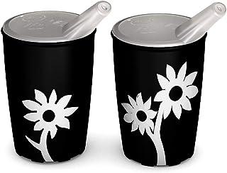Ornamin Becher mit Anti-Rutsch Blume 220 ml schwarz/weiß und Schnabelaufsatz 2er-Set (Modell 820 + 806) / Schnabelbecher, ...