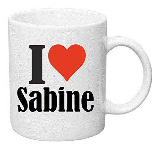 taza para café I Love Sabine Cerámica Altura 9.5 cm diámetro de 8 cm de Blanco
