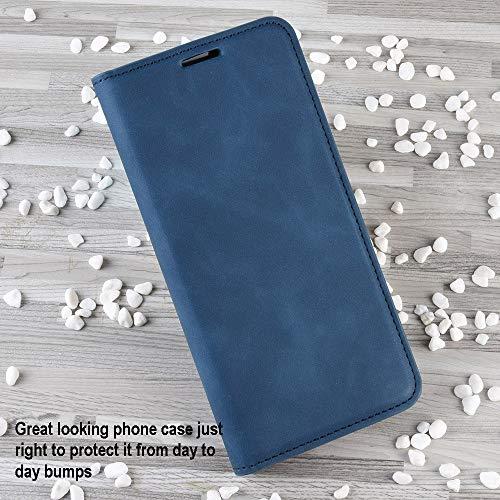Haoye Passend für Huawei P40 Pro Hülle, hat Magnet-Adsorption-Fähigkeit Premium PU Leder Handyhülle. Blau - 2