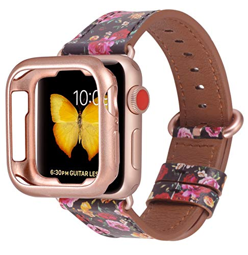 JFdragon Compatible with Apple Watch Bands 38mm 40mm 42mm 44mm Accessories Women Genuine Leather Strap for iwatch SE Series 6 5 4 3 2 1(Black/Rose flowers+Series 6/5/4/3 New Rose Gold,38mm/40mm S/M)