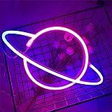Luz de Neón Led Para Pared,Luces de Neón de Planeta,Luces de Decoración Navideñas de Restaurante de Fiesta de Bar,Luces de Regalo, Usb/Batería(Azul rosado)
