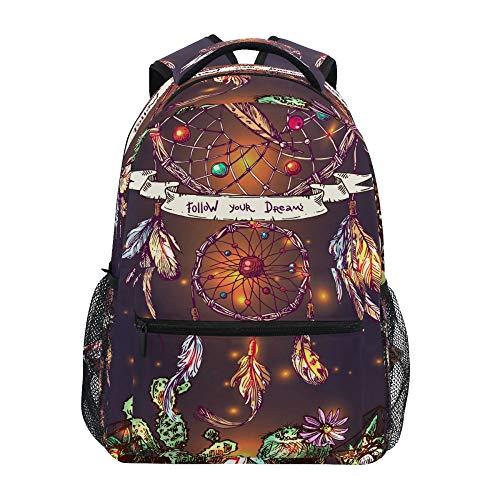 School Backpack ADMustwin Dreamcatcher Feather Cactus Pattern Travel Shoulders Bookbag Lightweight Waterproof College Laptop Backpack Elementary Large for Girls Boy Woman Man Teens