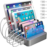 Hercules Tuff Charging Station for Multiple Devices - 6 Short Mixed Cables Included for Cell Phones, Smart Phones,...