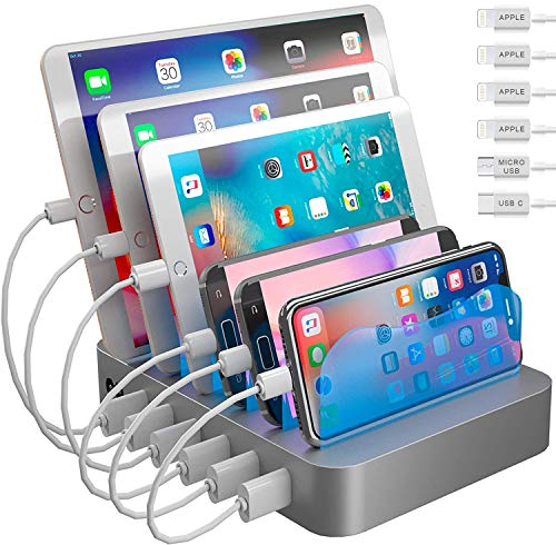 Hercules Tuff Charging Station for Multiple Devices - 6 Short Mixed Cables Included