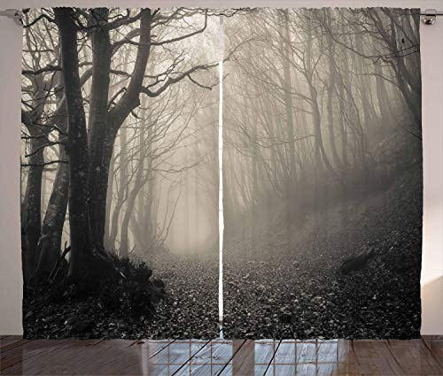 """Ambesonne Gothic Curtains, Pathway on The Gothic Forest Trees Trough Foggy Mysterious Nature Monochrome Artwork, Living Room Bedroom Window Drapes 2 Panel Set, 108"""" X 90"""", Beige"""