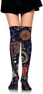 Calcetines altos por encima de la rodilla de las mujeres, calcetines de tubo de animadora deportiva de estilo Bohoo para niñas de 65 cm / 25,6 pulgadas