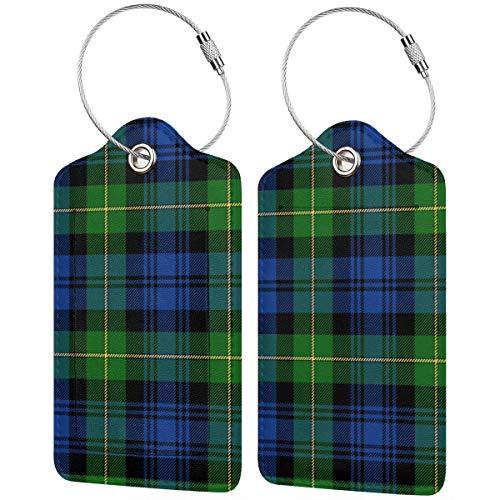 Etichette per bagagli in pelle Gordon Highlanders Tartan, colori moderni, valigia, borsa da viaggio con copertura per la privacy, set da 2 pezzi