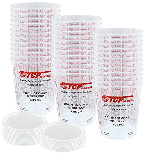 Custom Shop - Pack of 36 Each - 32 Ounce Graduated Paint Mixing Cups - Cups are Calibrated with Multiple Mixing Ratios - Also Includes 12 Lids