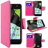 ebestStar - kompatibel mit Wiko Selfy 4G Hülle Kunstleder Wallet Case Handyhülle [PU Leder], Kartenfächern, Standfunktion, Pink [: 141 x 68.4 x 7.7mm, 4.8'']