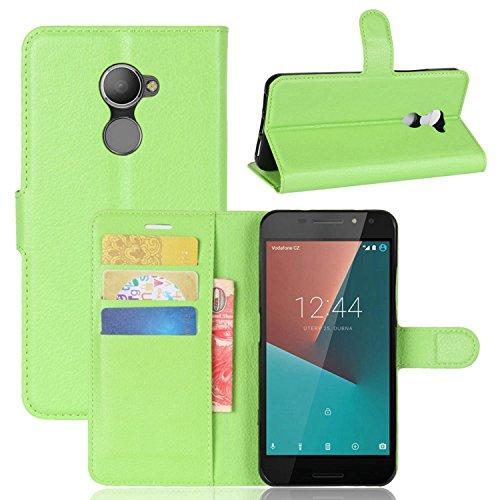 Tasche für Vodafone Smart N8 Hülle , Ycloud PU Kunstleder Ledertasche Flip Cover Wallet Hülle Handyhülle mit Stand Function Credit Card Slots Bookstyle Purse Design grün