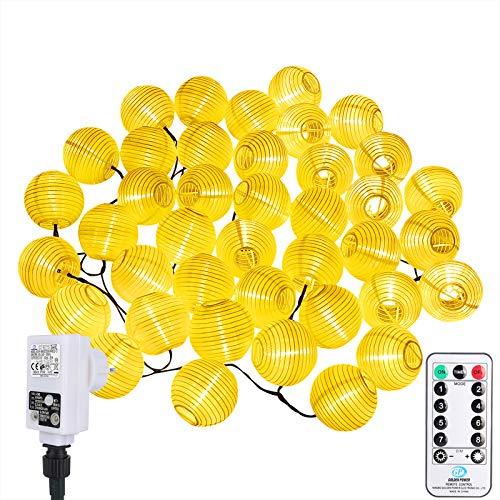 ALED LIGHT 12 Metros 40 LED Guirnaldas Luces Exterior Farolillos Decorativos, 8 Modos Impermeables Exteriores Decorativa Jardin Linterna Luces Navideñas con Control Remoto para Navidad, Decoración