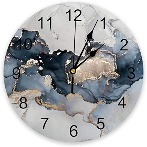 BINGTANGXUELI Co.,ltd Reloj De Pared Textura De Mármol Líneas De Pintura De Tinta Reloj De Pared Hogar Dormitorio Reloj Silencioso Reloj De Pared Reloj Digital Reloj De Pared Diseño Moderno-30X30Cm