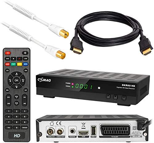 Kabel Receiver DVB-C Set: Comag DKR60 HD DVB-C Receiver für Kabelfernsehen mit Aufnahmefunktion PVR + HDMI Kabel + 1m Antennenkabel mit Mantelstromfilter weiß (Full HD HDTV HDMI SCART USB)