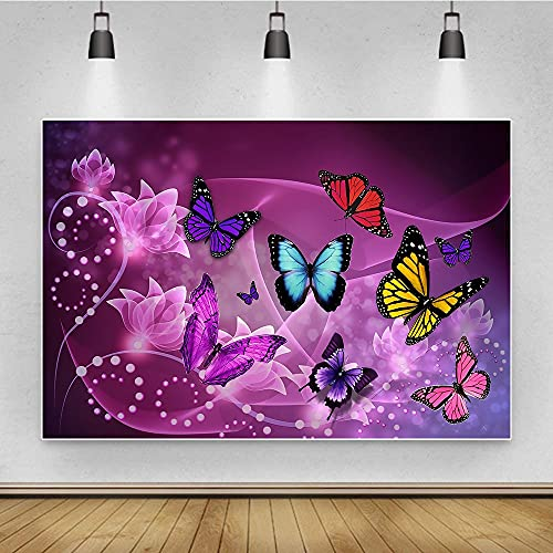 runzhi. Photoshoot-Kulisse Butterfly Theme Hintergr& Requisiten Professionelle Porträt Hochwertiger Stoff Wandverkleidung (Color : Purple3, Size : 5x3ft)