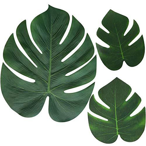 Moon Boat 120PCS Tropical Palm Leaves Plant Imitation Leaf-Hawaiian/ Luau/Jungle Party Table Decorations