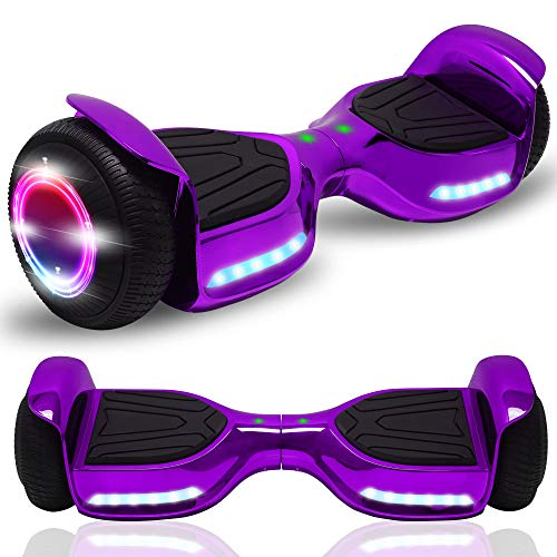 """CHO POWER SPORTS Hoverboard 6.5"""" inch Wheel Electric Smart Self Balancing Scooter with Built-in Wireless Speaker Shiny LED Wheels and Side Lights Safety Certified (Shiny Violet)"""