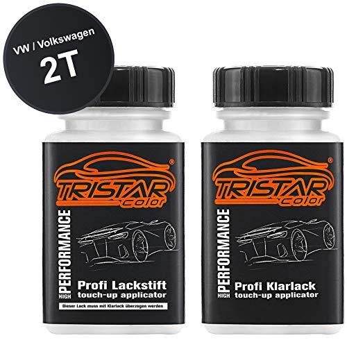 TRISTARcolor Autolack Lackstift Set für VW/Volkswagen 2T Deep Black Perl/Orcaschwarz Metallic Basislack Klarlack je 50ml