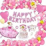 Palloncini Feste di Compleanno, MMTX Rosa Buon Compleanno Ballon Banner Aluminium Ballons Decorazione Festa a Tema Ragazza di Balletto Cake Topper Tatuaggi Bambini per Compleanno Baby Shower