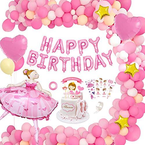 MMTX Decoraciones de Fiesta de Cumpleaños Rosa, Globos de Decoraciones Chica de Ballet Tema Fiesta de Cumpleaños, Rosa Feliz Cumpleaños Banner Globos para Niña Cumpleaños Baby Shower