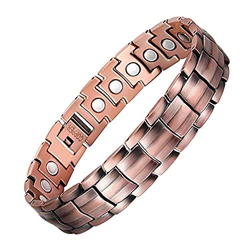 Jeracol - Braccialetto magnetico in rame con doppia fila, magnetoterapia per artrite, sollievo dal dolore, con forti magneti, braccialetto magnetico regolabile