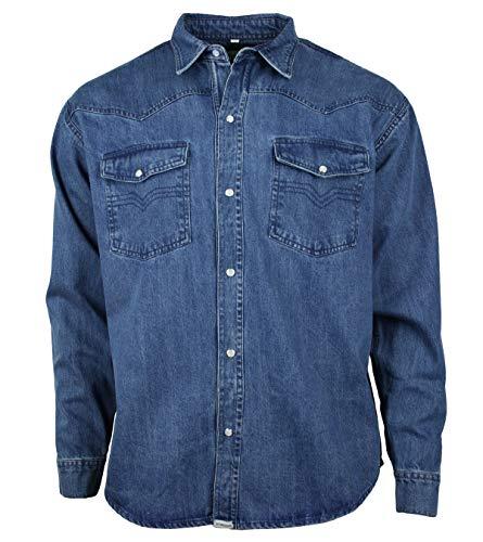 WESTERN-SPEICHER Denim Freizeit Jeans Hemd Herren Baumwolle Blau Druckknöpfe Größe XL