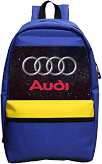 Unisex Blue Backpacks Au-di Car Logo Shoulder Handbag School Bags Bookbag for Boys Girls