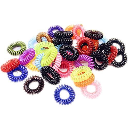 YouU 20 Stück Elastische-Haargummis für Mädchen Bunte Haarbänder Ring Bobble dehnbar Spule Pferdeschwanz Halter Frauen Haarschmuck Gummi-Haarknoten, Zufällige Farbe (Solid color)