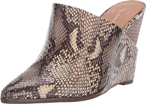 Jessica Simpson Heilo Neutral Glossy Desert Snake Print Fabric Mule (5.5, Neutral)