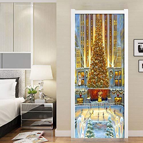 Door Stickers Golden Christmas Tree Waterproof Wohnzimmer Schlafzimmer Türe Wallpaper Self Adhesive Art Wall Decals 3D Wall Stickers