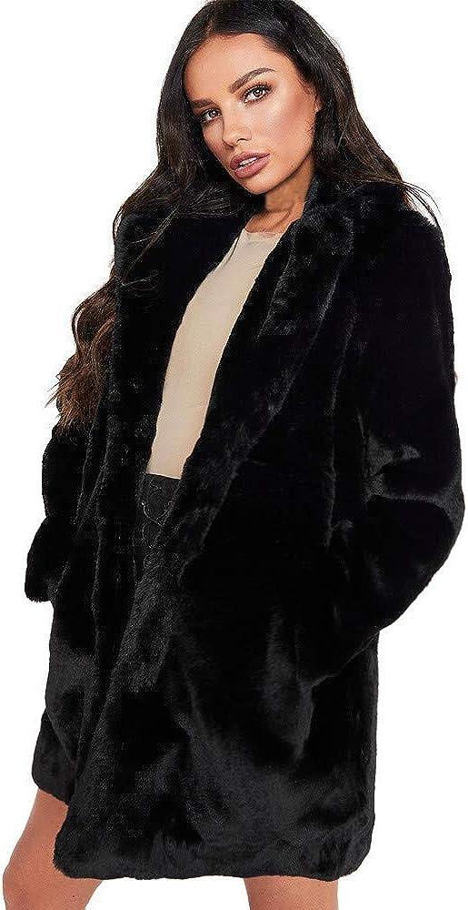 NREALY Women's Lady Womens Warm Long Faux Fur Coat Jacket Parka Outerwear