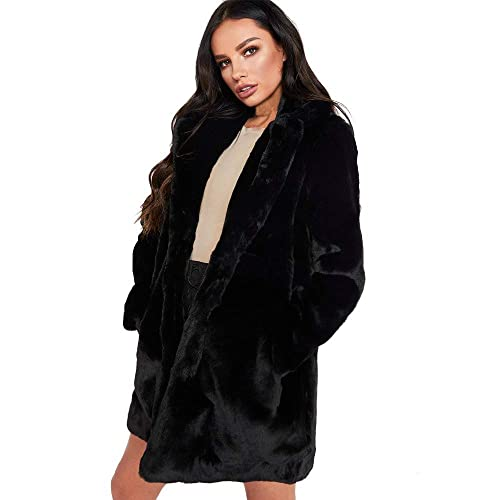 43fda4c213 Womens Winter Faux Fur Long Coat Warm Ladies Solid Jacket Parka Outerwear  Cardigan