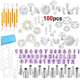 HOWAF 100pcs Cake Decorating Tools for Fondant Pastry Icing, Fondant Cake Decorating Equipment Supplies, Cake Sculpting Tools, Russian Piping Nozzles Tips Tools, Icing Piping Bags, Coupler