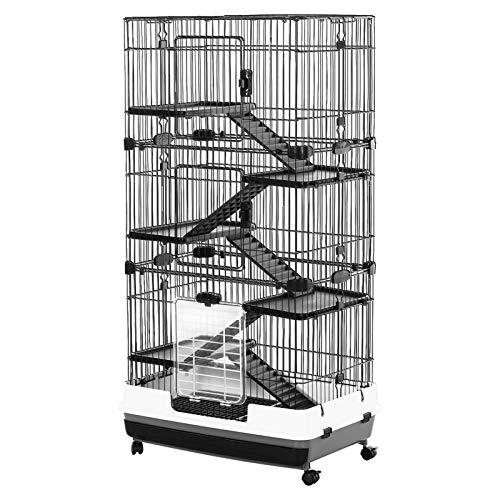 """PawHut 57"""" H 6-Level Indoor Small Animal Cage Rabbit Hutch with Wheels - Black"""