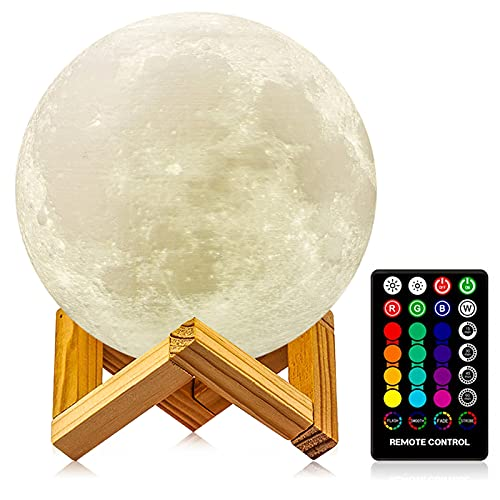 Moon Lamp, 3D Printing Moon Light with Stand & Remote &Touch Control and USB Rechargeable, Timing Setting, Moon Light Lamp for Kids Lover Birthday Christmas Gifts (4.9 Inch)
