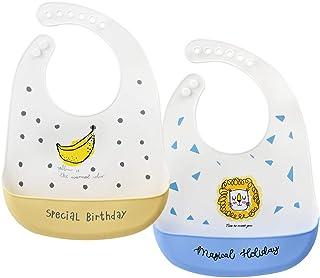 Gresunny 3 pezzi bavaglini silicone neonato bavaglini impermeabili morbidi regolabile bavaglino di svezzamento con tasca baby bibs per bambini neonata bimba
