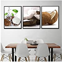 DLFALG フルーツココナッツキャンバスプリント絵画北欧スタイルのポスター壁アート写真キッチンダイニングルームリビングルーム寝室の家の装飾-40x60cmx3フレームなし
